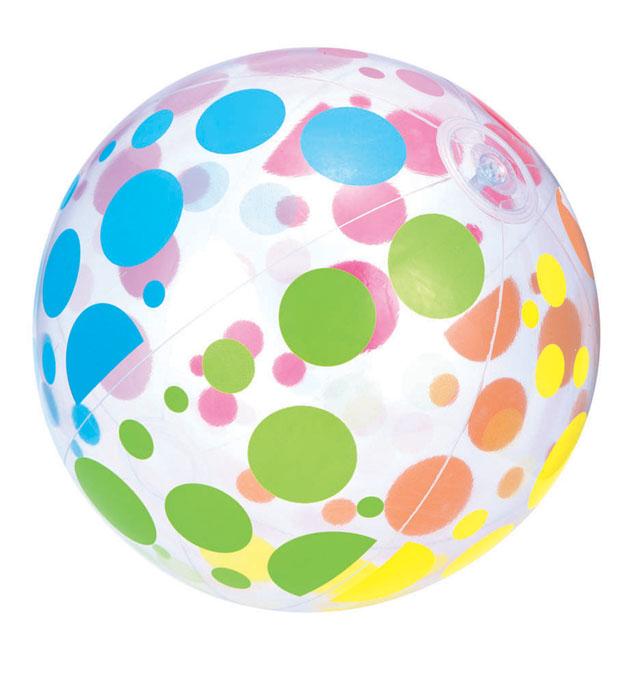 míč nafukovací 51cm průhledný s puntíky