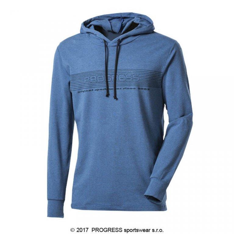 triko dlouhé pánské Progress CAMERON modré s kapucí