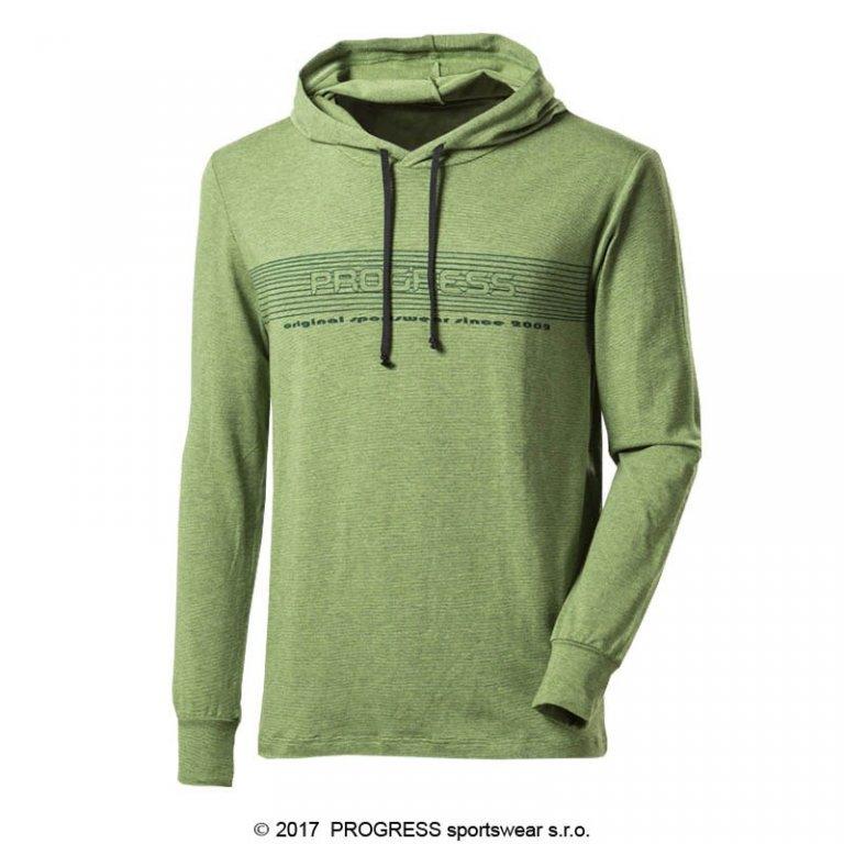 triko dlouhé pánské Progress CAMERON zelené s kapucí