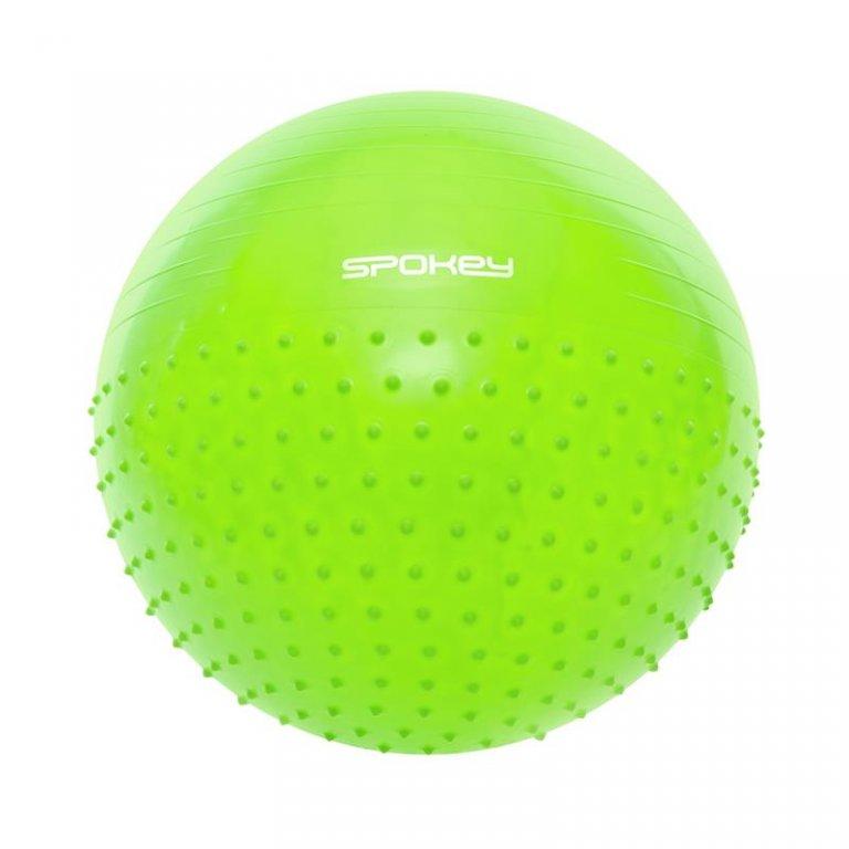míč gymnastický Spokey HALF FIT 2v1 65cm zelený s pumpičkou