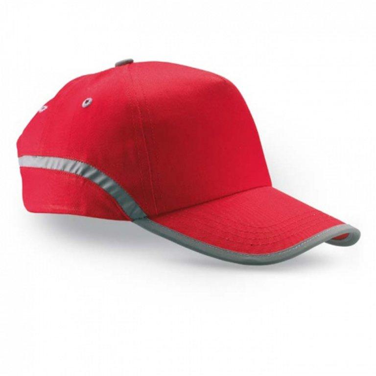 čepice s reflexním pruhem červená