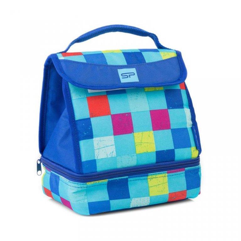 taška termo Spokey LUNCH BOX modrá s plastovým boxem vč. příborů