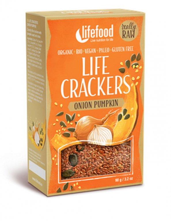 placky Lifefood Life Crackers Bio Raw cibulové s dýň.semínkem 90g