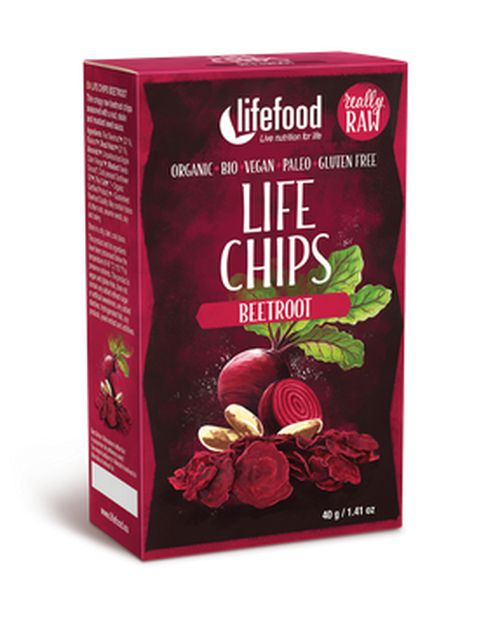 chipsy Lifefood Life Chips Bio Raw červená řepa 40g