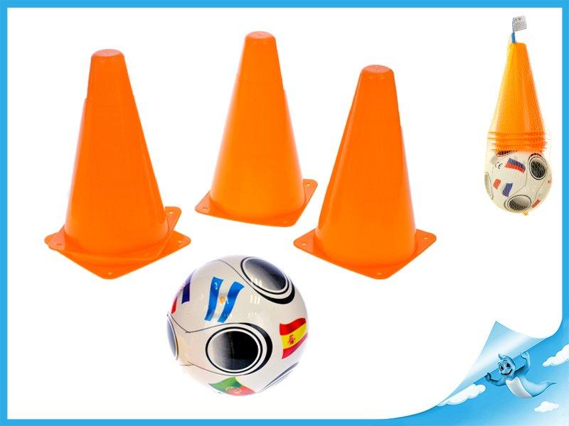 kužely fotbalové 4ks + míček