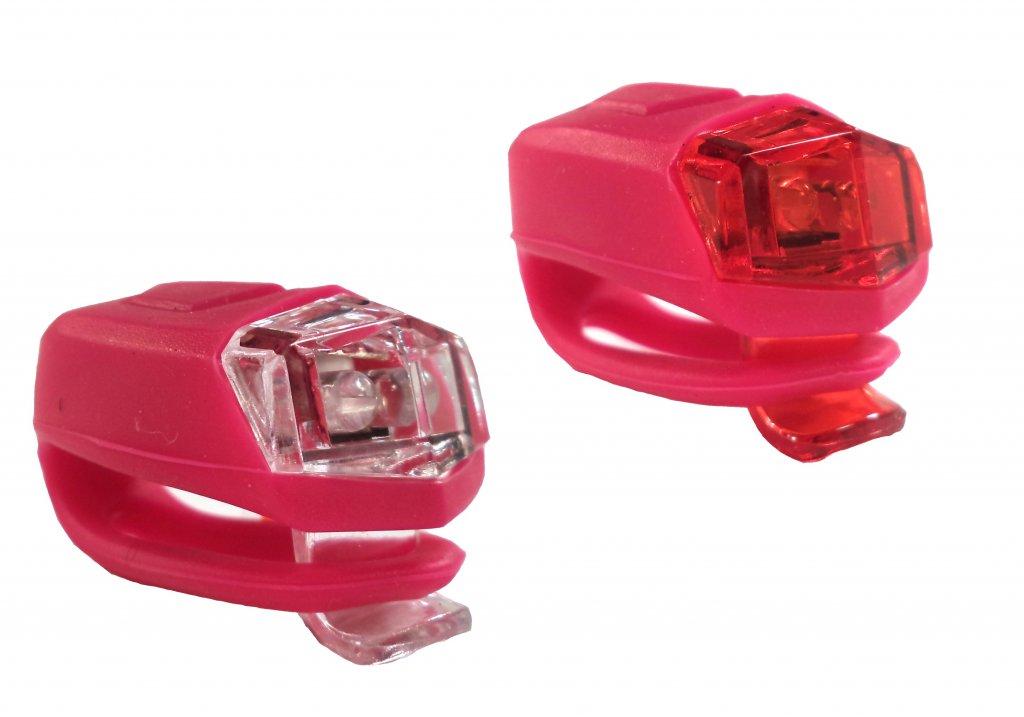 blikačka přední+zadní 4RACE LS02 silicon růžové
