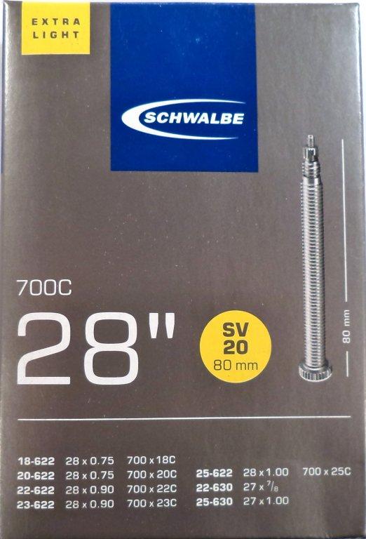"""duše SCHWALBE SV20 28""""x0.75-27""""x1,00 (18-622/25-630) FV/80mm"""