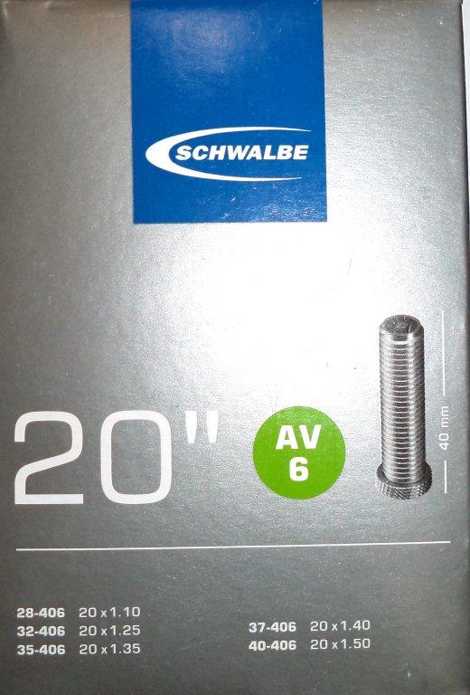 """duše SCHWALBE AV6 20""""x1.10-1.50 (28/40-406) AV/40mm"""