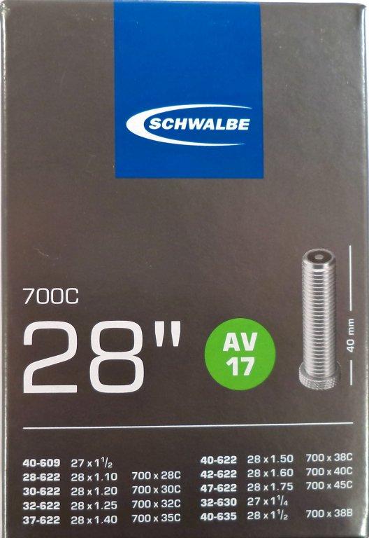 """duše SCHWALBE AV17 28""""x1.10-1.75 (24/47-622) AV/40mm"""