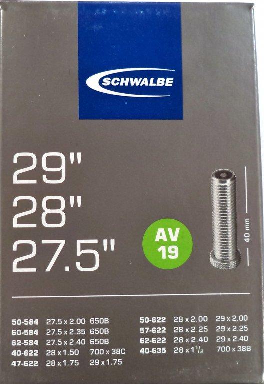 """duše SCHWALBE AV19 27.5""""x2.00-28""""x1 1/2 (50-584/40-635) AV/40mm"""