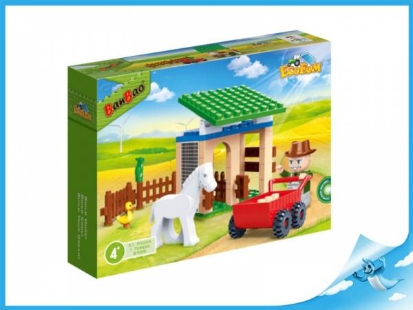 Banbao stavebnice Eco Farm stáj s koníkem