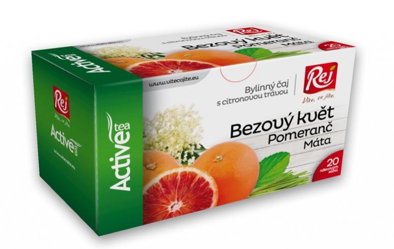 čaj - ACTIVE s citronovou trávou (bezový květ,pomeranč,máta)