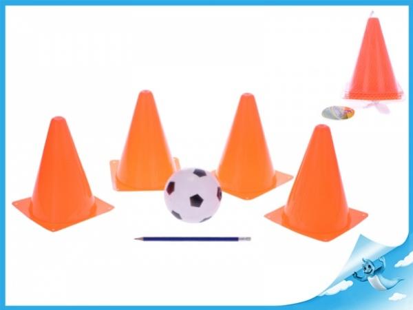 fotbalové kužely 18cm 4ks s míčkem