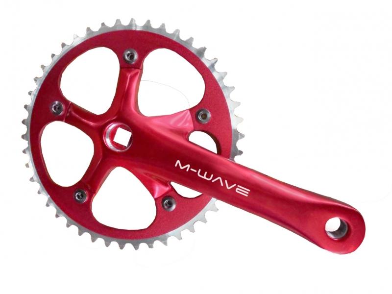 kliky M-Wave 1x1 46z 165mm CNC červené