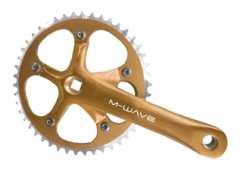 kliky M-Wave 1x1 46z 165mm CNC oranžovo-zlaté