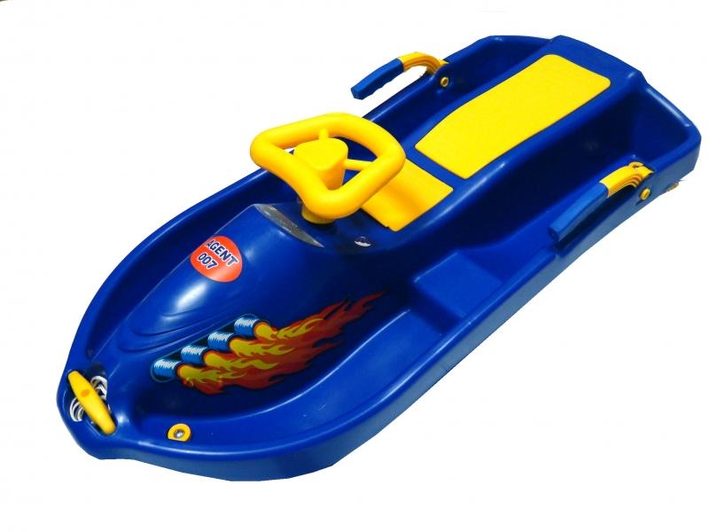 kluzák s volantem Snowboat modrý