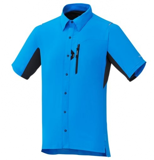 košile krátká pánská Shimano Button Up modrá
