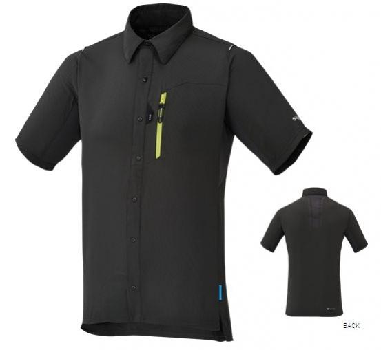 košile krátká pánská Shimano Button Up tmavě šedá