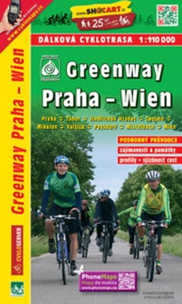mapa cyklo Greenway Praha-Wien - cykloprůvodce
