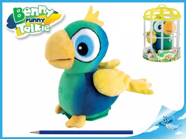 plyšový papoušek Benny 15cm se zvukem