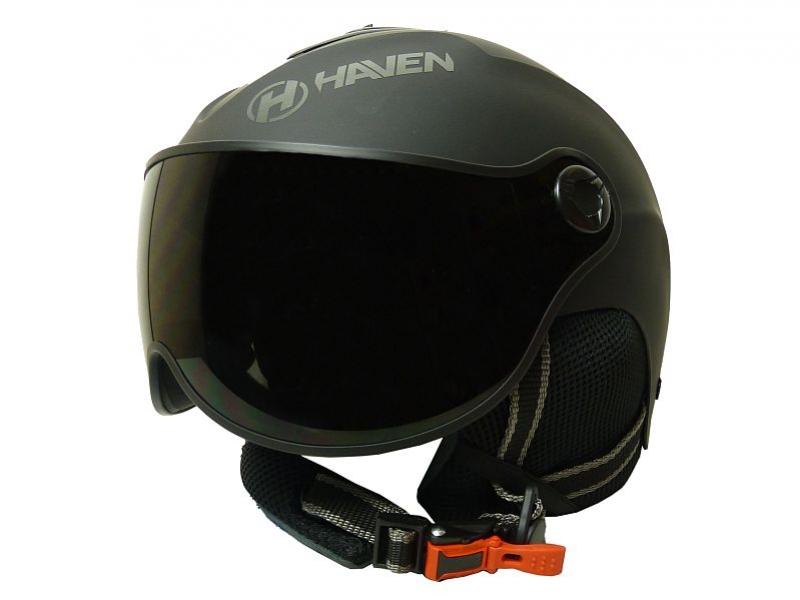 přilba lyžařská HAVEN Visor černá + oranžové brýle