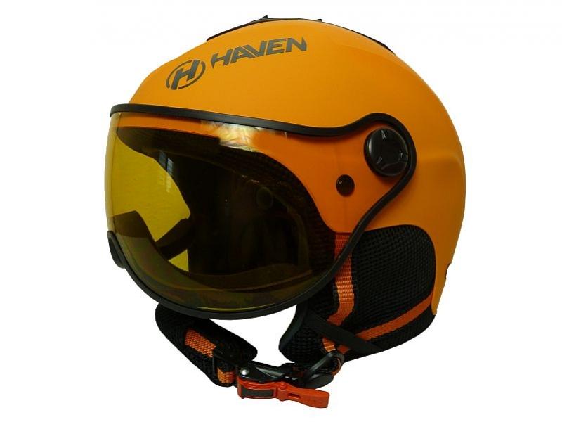 přilba lyžařská HAVEN Visor oranžová + černé brýle