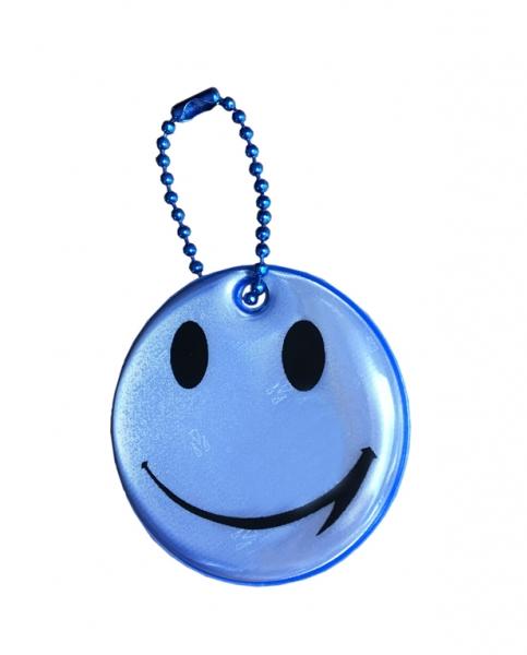 přívěšek reflexní smajlík modrý