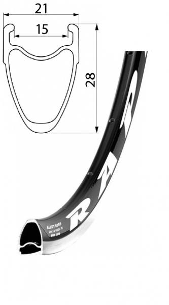ráfek REMERX RAPID 622x15 36děr černý