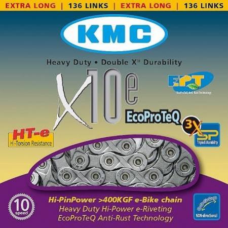řetěz KMC X10-E, 1/2x11/128 10k, pro e-kola 136čl.