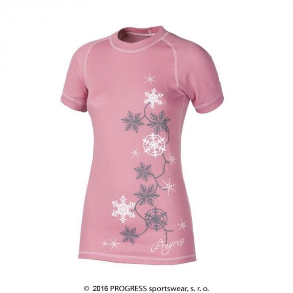 triko krátké dámské Progress DF NKRZ PRINT růžové (L;M;S;XL)
