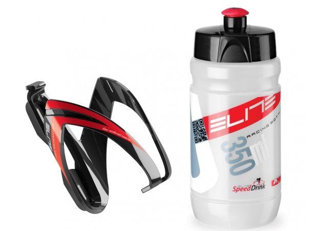 Košík ELITE Kit Ceo černo-červená + lahev Corsetta clear červeno-bílá