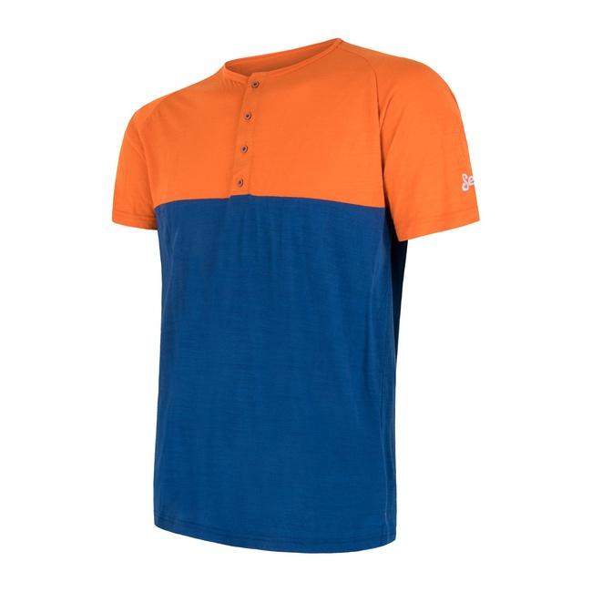 Triko krátké pánské SENSOR MERINO AIR PT s knoflíčky oranžovo/modré