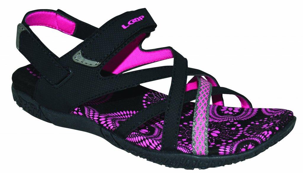 boty dámské LOAP CAIPA sandály černo/růžové, 38