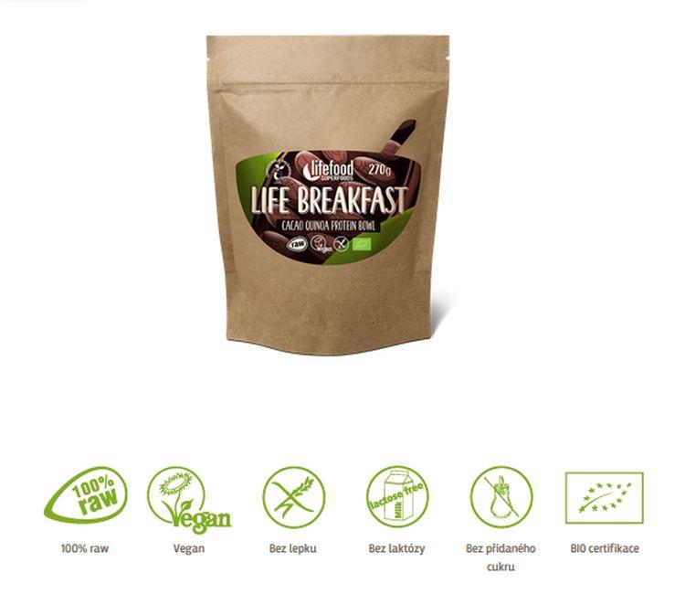 kaše Lifefood Breakfast Bio Raw kakaová s quinoou 270g