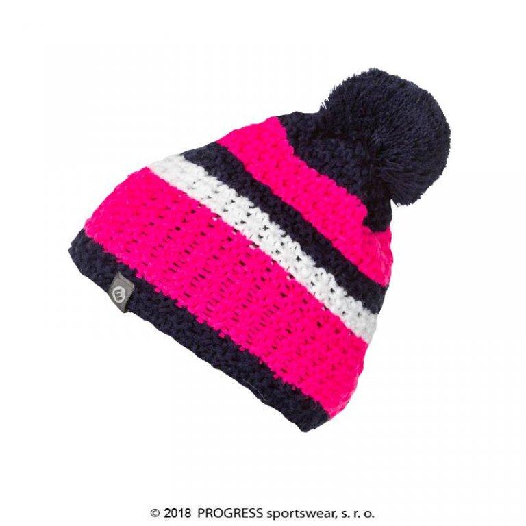 čepice dámská Progress ZEBRA pletená růžovo/modro/bílá