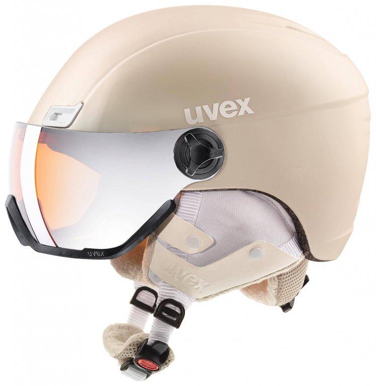 přilba lyžařská UVEX HLMT 400 VISOR STYLE krémová, 53-58