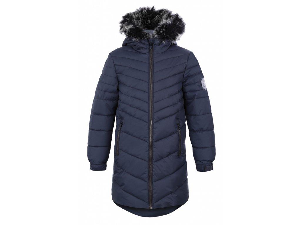 bunda dětská LOAP OKSARA zimní temně modrá, 158/164