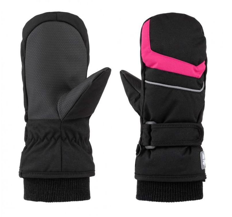 rukavice dětské LOAP RUFFI zimní černo/růžové, 10