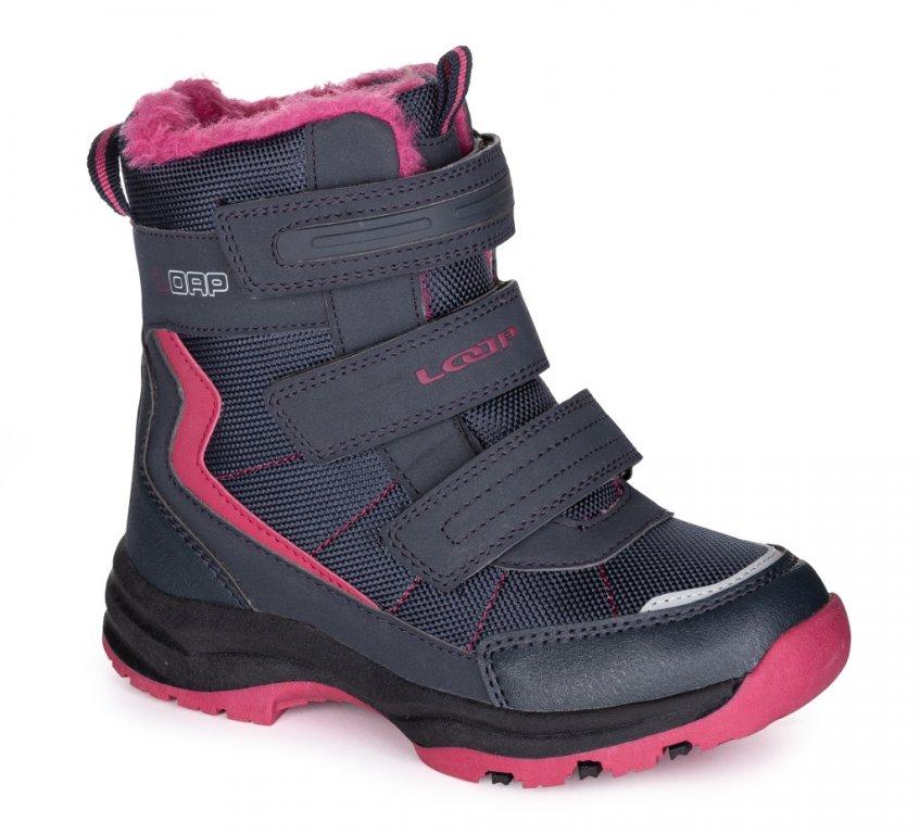 boty dětské LOAP SNEEKY zimní modro/růžové, 28