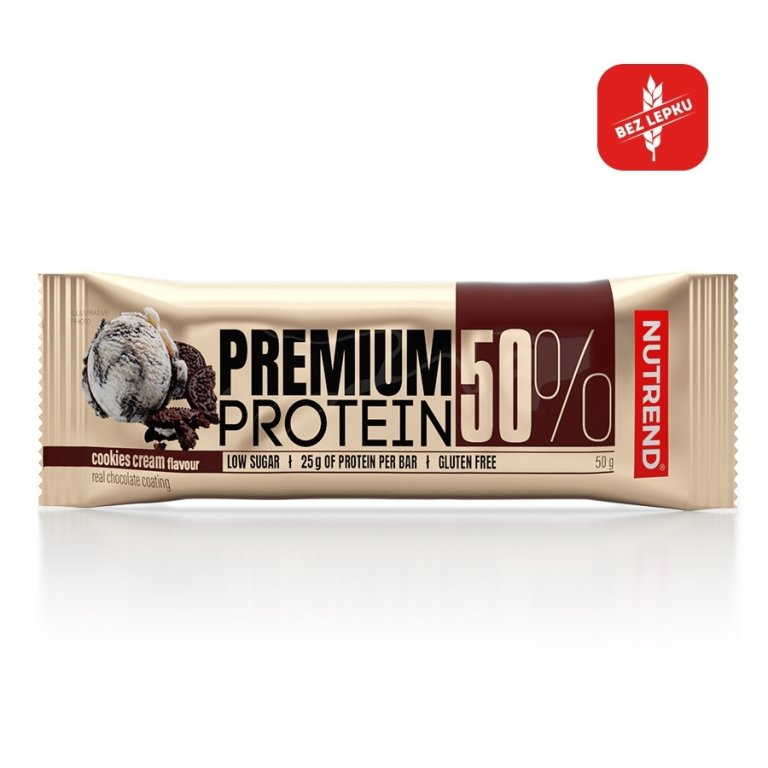 tyčinka Nutrend PREMIUM PROTEIN 50 BAR cookies cream 50g