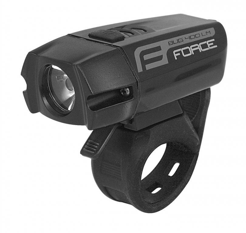 osvětlení přední FORCE BUG 400lm USB černé