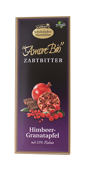 čokoláda hořká s malinami a granátovým jablkem  Liebhart´s  100g