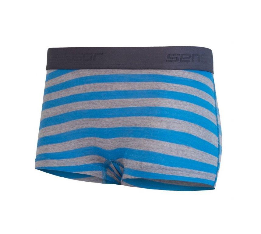 Kalhotky dámské SENSOR MERINO ACTIVE s nohavičkou modro/šedé pruhy