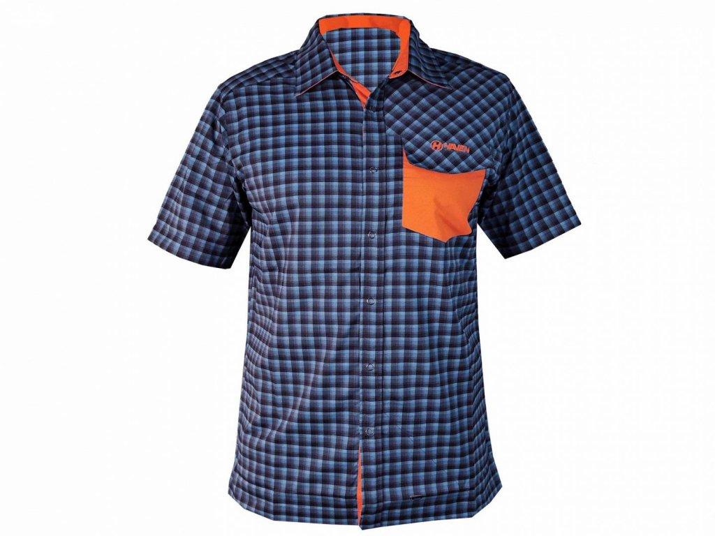 Košile krátká pánská HAVEN Agness Slimfit modrá/oranžová