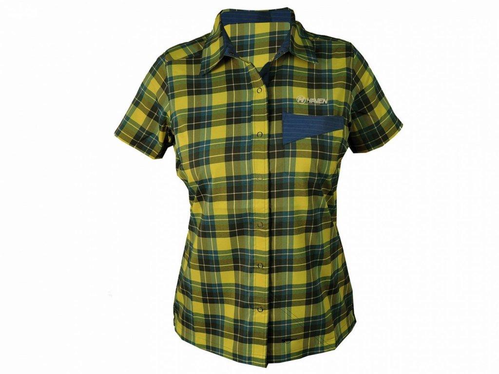 Košile krátká dámská HAVEN Agness Slimfit modrá/žlutá
