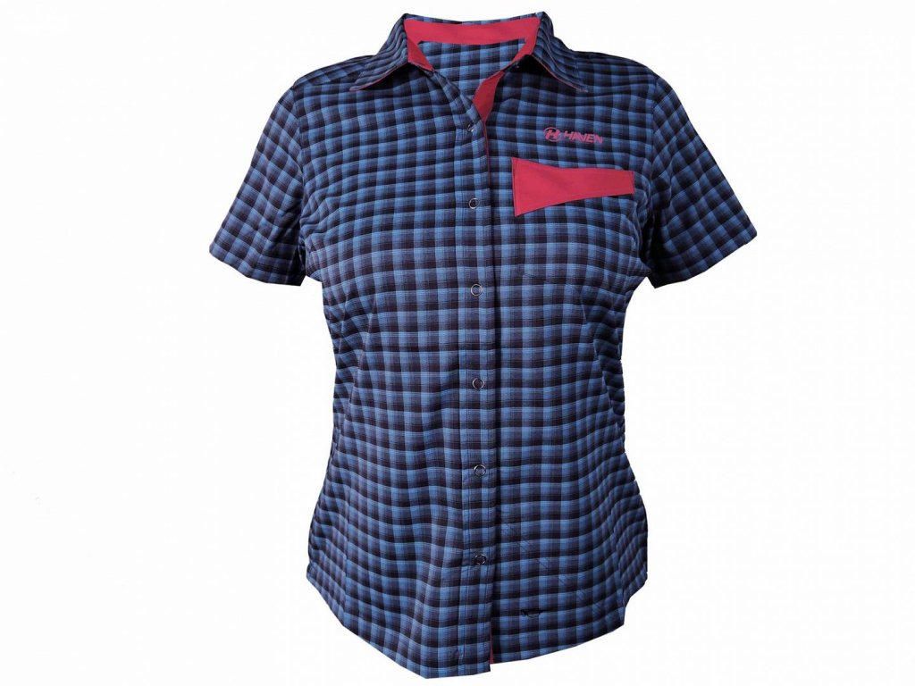 Košile krátká dámská HAVEN Agness Slimfit modrá/růžová