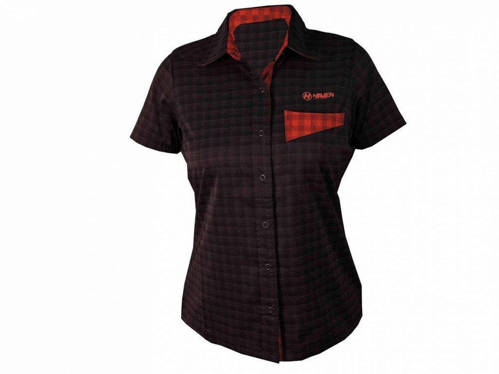 Košile krátká dámská HAVEN Agness Slimfit černá/červená