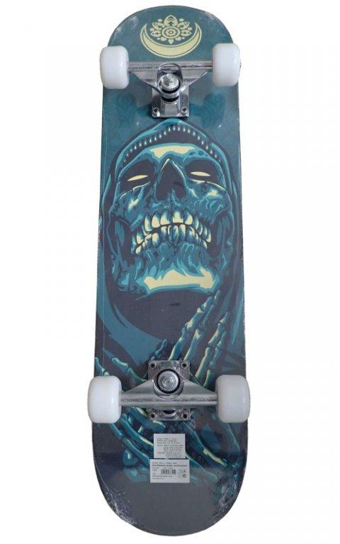 Skateboard závodní s protismykem lebka