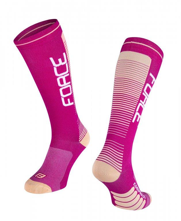 Ponožky FORCE COMPRESS fialovo/meruňkové L/XL