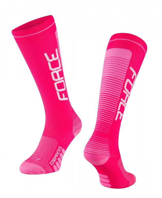 Ponožky FORCE COMPRESS růžové L/XL